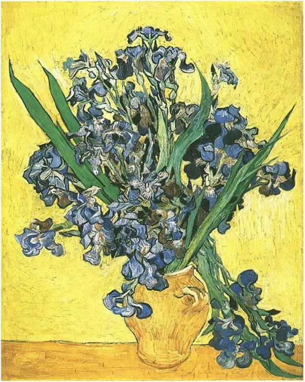 Still-Life -Vase-with-Irises-Against-a-Yellow-Background