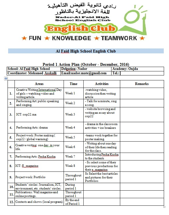 Steps To Start Your English Club  Acton Plan Sample For Period