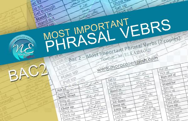 Bac2 Most Important Phrasal Verbs | MoroccoEnglish