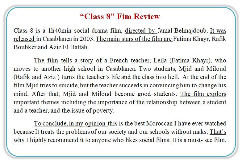 bac2  film review writing simplified planning  practice