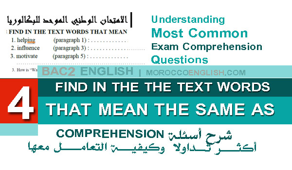 Understanding Comprehension Exam Questions: FIND IN THE THE